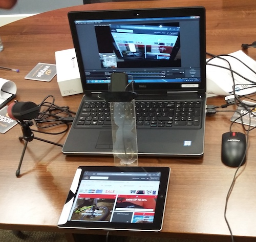 My set up of computer and tablet to test with.