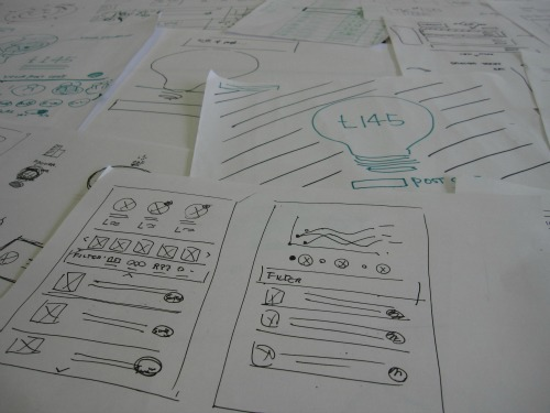 Piles of sketches from the design studio.
