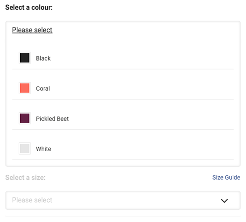 A new design with two dropdowns - showing the colour selector open.